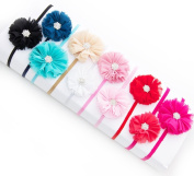 Ema Jane - Vintage Chiffon Boutique Jewelled Rosette Flowers Glued to Soft Stretcy Skinny Headbands
