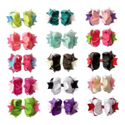 Janecrafts 10.2cm Two Tone Baby Spike Hair Bows 15pcs Mixed in 15 Colour-Perfect for Babys.Girls,Toddlers