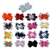 Janecrafts 7.6cm Boutique Stacked Toddler Spike Hair Bows 17pcs Mixed in 17 Colour-Perfect for Babys.Girls,Toddlers