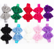 Ema Jane - Boutique Rosette Laced Bow Headbands with Satin Shimmery Ribbon Wrap Around Centre