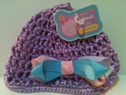 Purple Scunci Crochet Hat With Blue and Pink Bow
