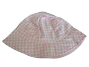 Faded Glory Infant & Toddler Girls Pink White Checked Bucket Hat Floppy Sun Cap