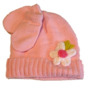 Faded Glory Infant Girls Pink Knit Hat Mittens White Flower Beanie
