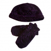 Faded Glory Infant & Toddler Girls Purple Zebra Fleece Beanie & Mittens Hat Set
