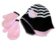 Faded Glory Infant Girls Black Whtie Hat Mittens pink flower beanie