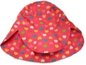 Toddler Girls Dark Pink Sun Hat Colourful Hearts Bucket Hat Fuchsia