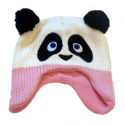 Cosy Creatures Toddler Girls Knit Trapper Style Panda Bear Hat Fleece Lined