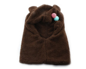 Baby Boy Girl Kids Children Earmuff Velvet Siamese Hat Cap neckerchief Scarf Brown