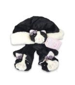 Fuzzy Wear Girls Kitty Hat & Mitten Set, Black, 12-18 Months