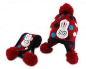 Rabbit Baby Boy Girl Kids Children Earmuff Knitting Hat Cap W neckerchief Scarf Red
