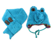 Frog Baby Boy Girl Kids Children Earmuff Knitting Hat Cap W neckerchief Scarf Blue