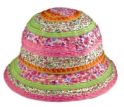 Floral Ribbon Bucket Sun Hat - Pink / Multi-coloured