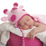 Melondipity Girls Pink Spotted Giraffe Animal Crochet Beanie Baby Hat - Knit with Ear Flaps and Braids - Pink- Newborn