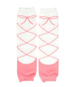 Pink & White ballet leg baby & toddler warmers for girls by My Little Legs