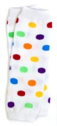 (175) NEWBORN rainbow polka dot baby girl leg warmers - up to 6.8kg