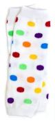 (175) NEWBORN rainbow polka dot baby girl leg warmers - up to 6.8kg