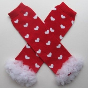 Chiffon Red with White Hearts - So Sydney Brand Tutu Chiffon Ruffle Leg Warmers - for Infant, Baby, Toddler, Girls