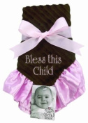 Sue Berk Designs Plush Soft Blankie, Pink Embroidered with Bless This Child