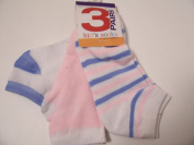 Max Grey Kid's Socks 3 Pair ~ Size 9-11, White with stripes, White with Blue, Light Pink with White