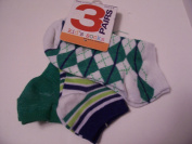 Max Grey Kid's Socks 3 Pair ~ Size 6-8, Solid Green, White with Stripes, White with Diamonds