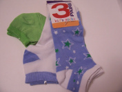 Max Grey Kid's Socks 3 Pair ~ Size 9-11, Bright Green, White with Blue, Light Blue with Stars