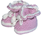 Hand Knit Elegant Baby Girl Booties, Size