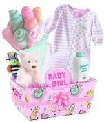 "Baby Boutique® ""Pretty in Pink"" Baby Girl's Gift Basket with Beautiful Baby Bouquet and Sleep Sack, Pink"