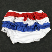 Patriotic Red White Blue Ruffle Cotton Bloomers