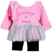 "Pink ""Princess"" Silver Tutu & Legging Set w/ Headband"