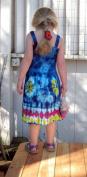 Girl's Blue Tie-Dye Dress with Elastic Bodice, Size Infant