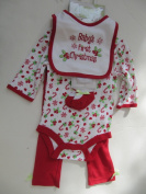 Baby Gear Baby's First Christmas Baby/girls 4-piece Set Red/holly Size 6-9 Months