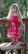 Girl's Red Tie-Dye Dress with Elastic Bodice, Size Infant