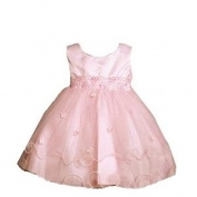 Pink Organza Tiered Infant Dress with Headband