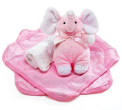 Plush Pink Elephant Rattle and Washcloths Gift Set