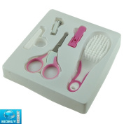 Bid-Buy-Direct Brand New Pink Baby Grooming Set - With All 5 Function - Complete With Safety Scissors, Nail Clipper, Soft Bristles Brush