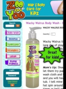 Zoo On Yoo Wacky Walrus Kid's Body Wash - Bubble Gum 300ml