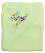Extra Large 101.6cm x76.2cm Absorbent Hooded Towel, I Love My Grandpa (Light Green), Frenchie Mini Couture