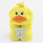 Peanut & Ollie Hooded Yellow Duckie Bath Towel Child Size 100% Cotton Cute Duck