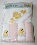 Owen Hooded Towel Set 5 Piece-Hooded Towel & Washcloths Pink/Ducks