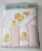 Owen Hooded Towel Set 5 Piece-Hooded Towel & Washcloths Pink/Ducks