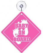 Baby on Board and Baby Sleeping Door Sign Set - Pink - 2 of each