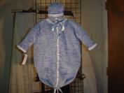 Bt95d_b, Denim Chenille Baby Blue Trim Baby Bunting Sweater,hat Set