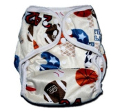 "One Size Fit All- Nappy Covers for Prefolds or Regular Inserts PUL MINKY - SPORTS (PLAYBALL) by ""BubuBibi"""