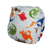 Alva One Size Washable Reusable Minky Cloth Nappy for 2.72-14.97kg Baby (Dinosaur) with Two Inserts M12