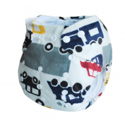 Alva Baby One Size Washable Reusable Minky Cloth Nappy (Car Print) with 5.1cm serts Microfiber M14