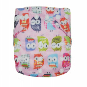 Alva Baby One Size Washable Reusable Cloth Nappy Fit for 2.72-14.97kg Baby (Pink Owl) Two Inserts N16