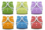 Thirsties Duo Wrap Snaps Size 1 Gender Neutral Colours 6 Pack with Reusable Dainty Baby Bag Bundle
