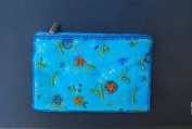 Small Embroidered Flower Brocade Makeup Bags - Blue