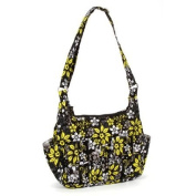 Quilted Hobo Bag Purse - Black and Yellow Petal Pattern