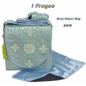 I Frogee Brocade Nappy Bags in Baby Blue Fortune Flower